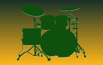 Green Bay Packers Drum Set Art Print