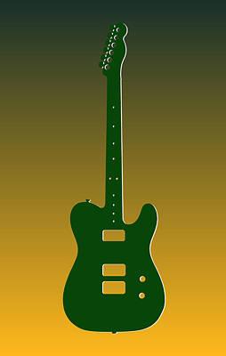 Green Bay Packers Guitar Art Print by Joe Hamilton