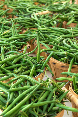 Green Beans In Baskets At Farmers Market Art Print by Teri Virbickis