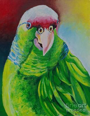 Amazon Parrot Painting - Green Beauty by Ainsworth Mckend