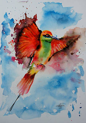 Surrealistic Painting - Green Bee Eater by Isabel Salvador