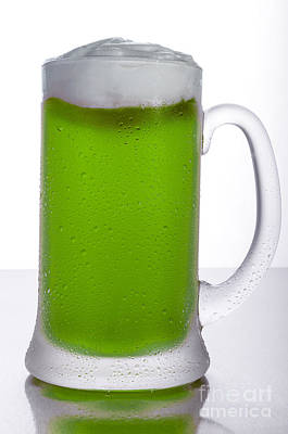 Frosty Mug Photograph - Green Beer by Ken Lamb