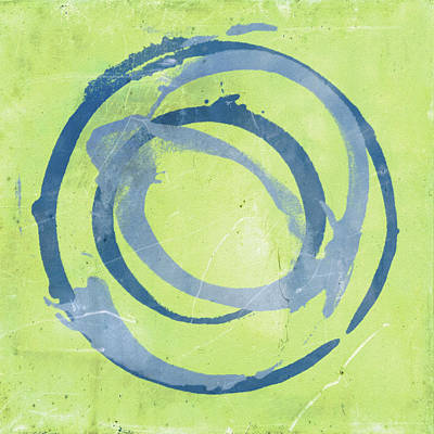 Abstract Ink Paintings In Color - Green Blue by Julie Niemela