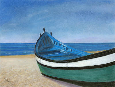 Green Boat Blue Skies Art Print