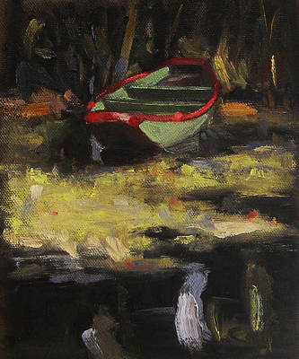 Oil Painting - Green Boat In Algae by Michael Britton