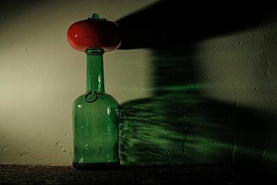 Fun Patterns - Green Bottle and Tomato with Shadow 3 by John Shurtz