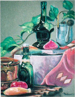 Pastel - Green Bottles And Copper by Harriett Masterson