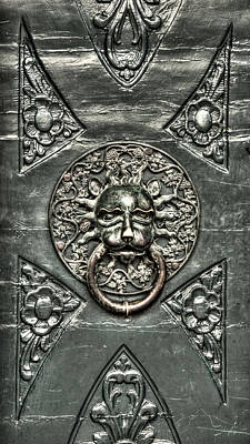 Photograph - Green Bronze Lion Head And Ring On The Main Door Of The Town Hall In Dubrovnik by Weston Westmoreland