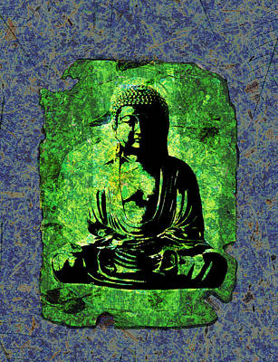 Mixed Media - Green Buddha by Peter Cutler