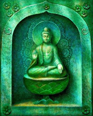 Spiritual Painting - Green Buddha by Sue Halstenberg