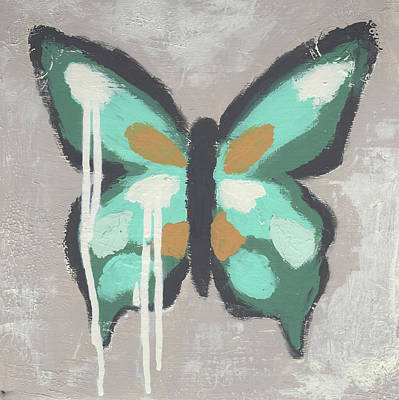 Abstracted Animal Painting - Green Butterfly by Cassandra Cushman