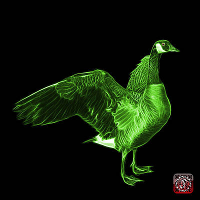 Mixed Media - Green Canada Goose Pop Art - 7585 - Bb  by James Ahn