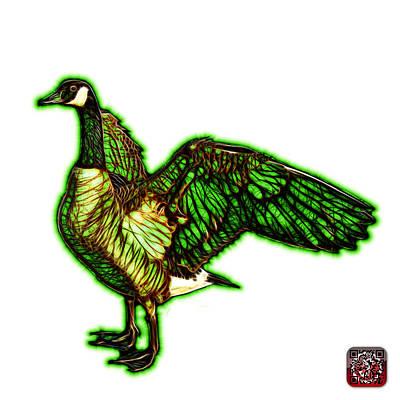 Mixed Media - Green Canada Goose Pop Art - 7585 - Wb by James Ahn