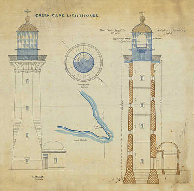 Lighthouse Drawing - Green Cape Lighthouse by Jerry McElroy