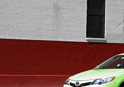 Photograph - Green Car Red Wall by Sarah Loft