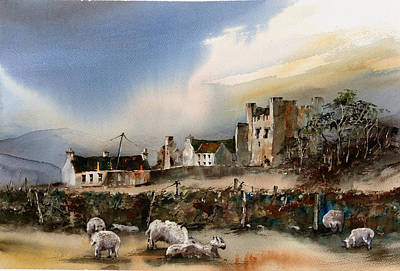 Painting - Green Castle  County Down by Val Byrne