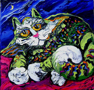 Green Cat Art Print by Isabelle Gervais