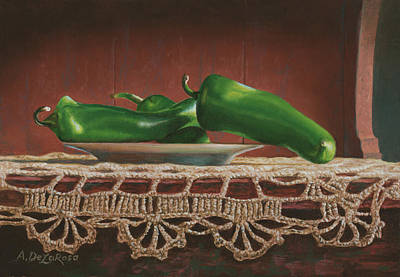 Las Cruces Painting - Green Chilies On A Plate by Abel DeLaRosa