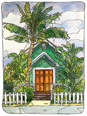 Banana Mixed Media - Green Church by Stacy Vosberg