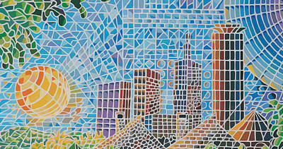 Graphics Painting - Green City In The Sun by Anthony Mwangi