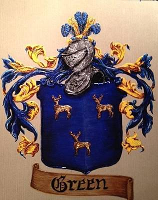 David Bowman Painting - Green Coat Of Arms Family Crest by Nancy Rutland