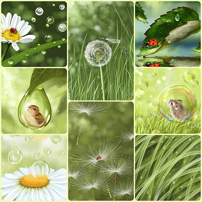 Soap Bubbles Digital Art - Green Collage by Veronica Minozzi