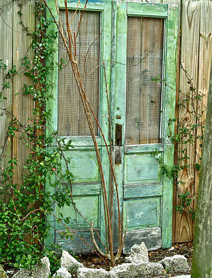 Green Cottage Doors Art Print by Angie Mahoney