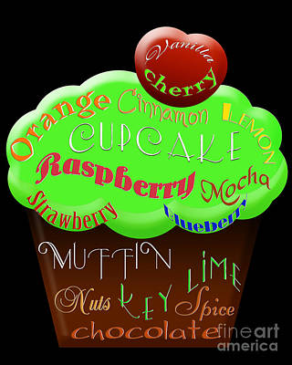 Raspberry Digital Art - Green Cupcake Typography by Andee Design