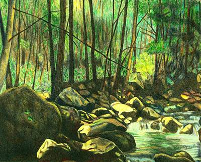 Drawing - Green Day Near The Cascades by Kendall Kessler