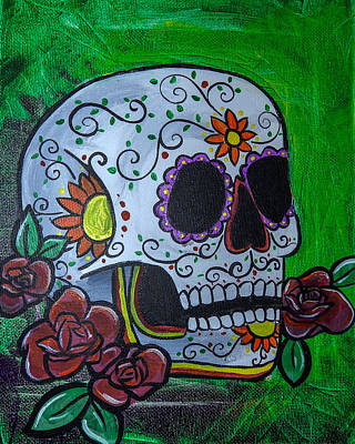 Saint-lo Painting - Green Day Of The Dead Skull by Lovejoy Creations