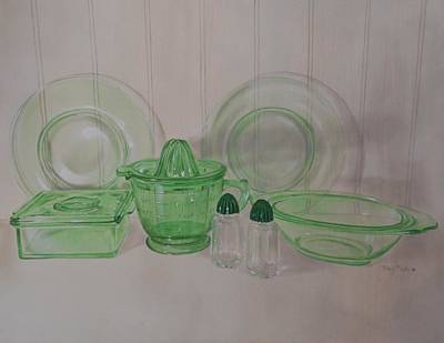 Green Depression Glass Original by Tracy Meola