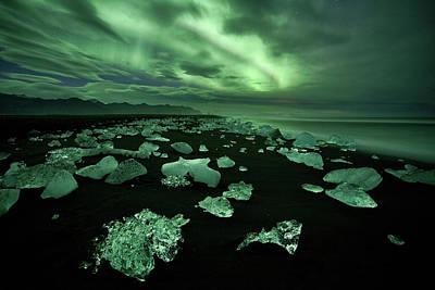 Ice Crystal Photograph - Green Diamonds by Peter Svoboda, Mqep
