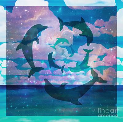 Green Dolphin Dance Art Print