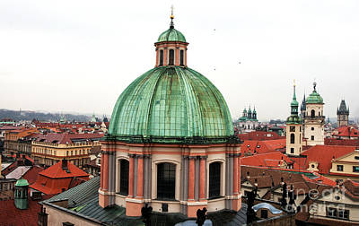 Green Dome In Prague Print by John Rizzuto