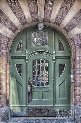 Framed Old Town Door Photograph - Green Door Art Deco Style by Antony McAulay