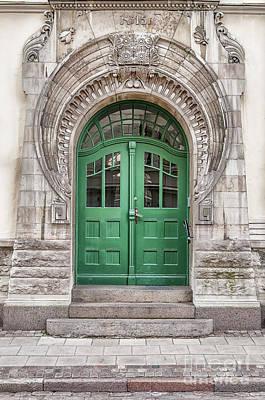 Green Door Art Nouveau Art Print by Antony McAulay