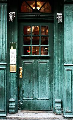 Green Door In The Village Art Print by John Rizzuto
