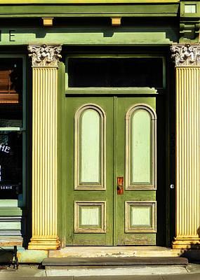 Stoop Photograph - Green Door by Jon Woodhams