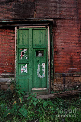 Run Down Photograph - Green Door On Red Brick Wall by Amy Cicconi