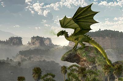 Tolkien Digital Art - Green Dragon by Daniel Eskridge