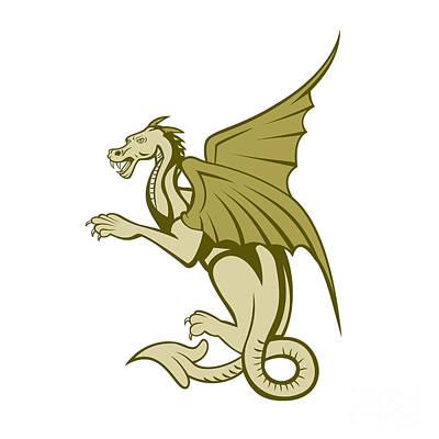 Green Dragon Full Body Cartoon Print by Aloysius Patrimonio