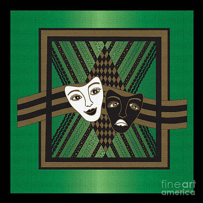Digital Art - Green Drama Mask by Megan Dirsa-DuBois