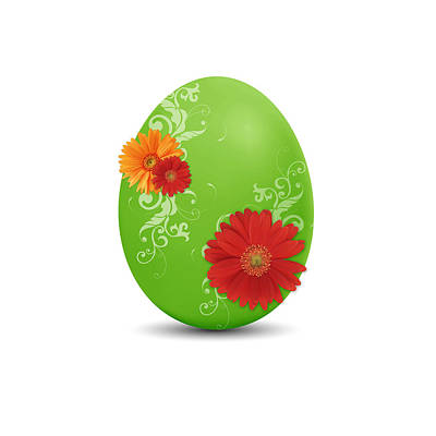 Florals Drawings - Green Easter Egg by Aged Pixel