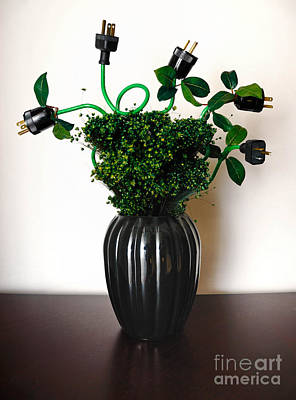 Green Energy Floral Arrangement Of Electrical Plugs Art Print
