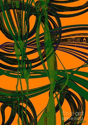 Art Print featuring the digital art Green Excitement by Hanza Turgul