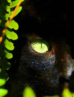 Lurk Digital Art - Green Eyed Black Cat by David Lee Thompson