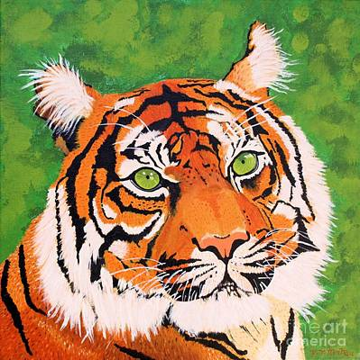 Painting - Green-eyed Tiger by Vicki Maheu