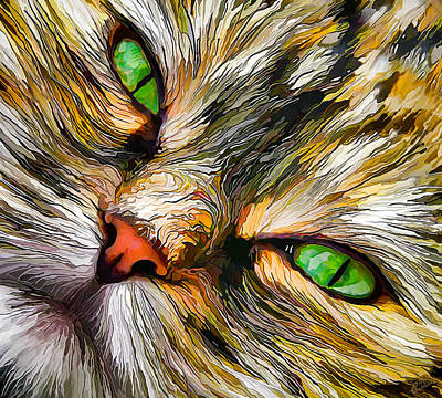 Digitally Manipulated Digital Art - Green-eyed Tortie by ABeautifulSky Photography