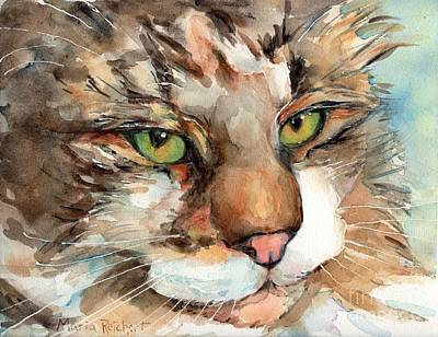 Watercolor Pet Portraits Painting - Green Eyes by Maria's Watercolor