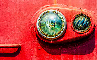 Painted Glass Photograph - Green Eyes Of The Red Train by Alexander Senin